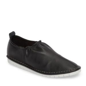 Black Napa Leather Slip On Lightweight Sneakers